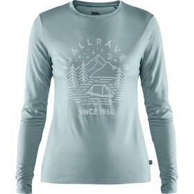Fjällräven Abisko Camiseta de Lana Manga Larga Mujer, mineral blue